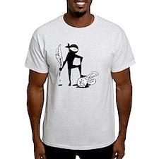 Plot Ninja kills Plot Bunny (b/w) T-Shirt
