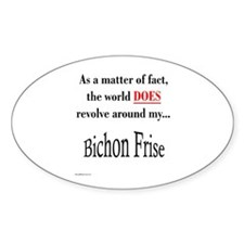 Bichon Frise World Oval Decal