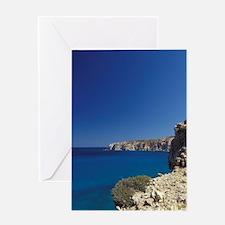 Milos. View of northern rocky coasti Greeting Card