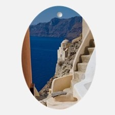 Greece and Greek Island of Santorini Oval Ornament