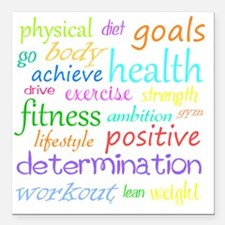 "fitness words Square Car Magnet 3"" x 3"""