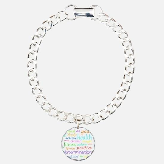 fitness words Charm Bracelet, One Charm