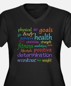 fitness word Women's Plus Size Dark V-Neck T-Shirt