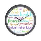 Fitness words Wall Clocks
