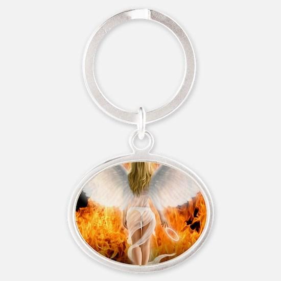 545 Fallen Angel for Cafe Press d Oval Keychain