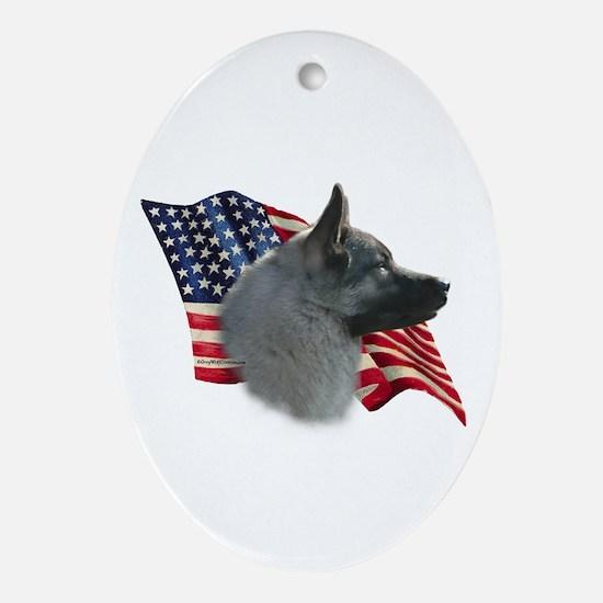 Elkhound Flag Oval Ornament