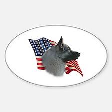 Elkhound Flag Oval Decal
