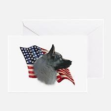 Elkhound Flag Greeting Cards (Pk of 10)