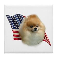 Pomeranian Flag Tile Coaster