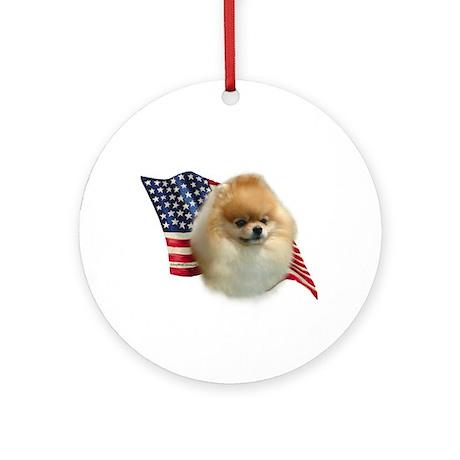 Pomeranian Flag Ornament (Round)