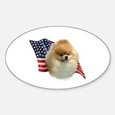 Pomeranian Flag Oval Decal