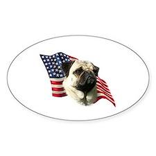Pug Flag Oval Decal