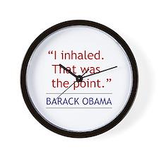 "Obama Quote - ""I Inhaled"" Wall Clock"