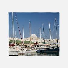 Rhodes Town: Mandraki Harbor with bo Throw Blanket