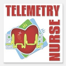 "Telemetry Nurse Square Car Magnet 3"" x 3"""