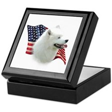 Samoyed Flag Keepsake Box