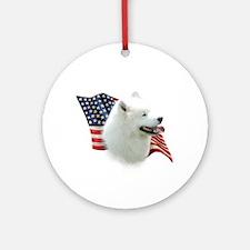 Samoyed Flag Ornament (Round)