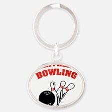 ratherbeBowling2 Oval Keychain