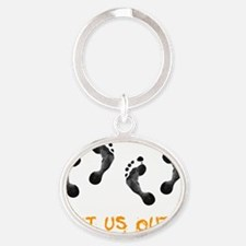 Let Us Out Oval Keychain