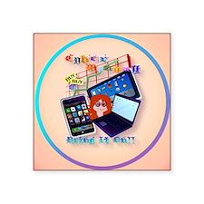 "circle Cyber Monday-Bring I Square Sticker 3"" x 3"""