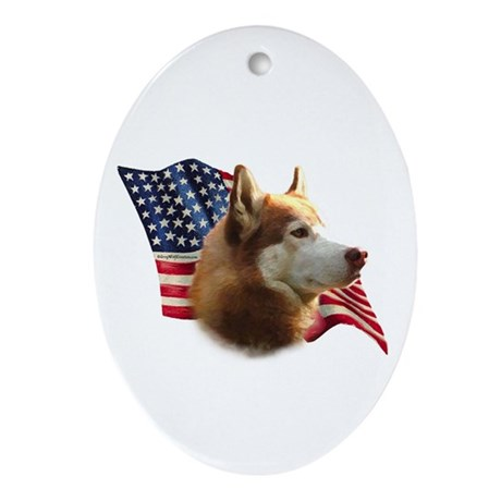 Husky(red) Flag Oval Ornament