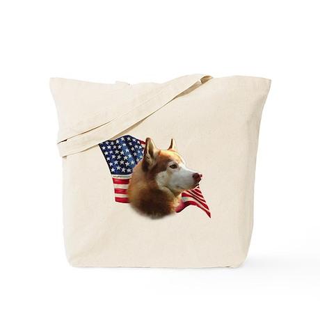 Husky(red) Flag Tote Bag