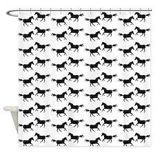 White | Black Wild Horses Shower Curtain
