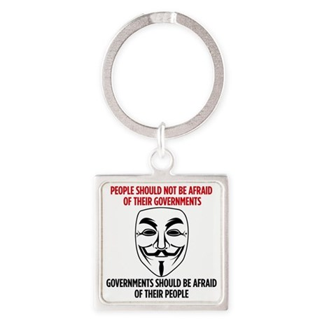 V Mask Square Keychain