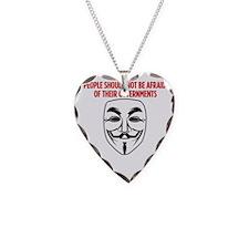 V Mask KO Necklace Heart Charm