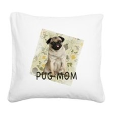 pug mom on background Square Canvas Pillow