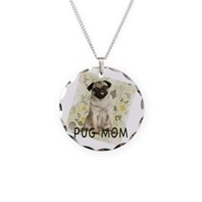 pug mom on background Necklace
