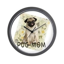 pug mom on background Wall Clock