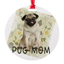 pug mom on background Ornament