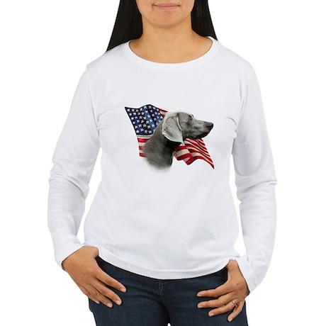 Weimaraner Flag Women's Long Sleeve T-Shirt