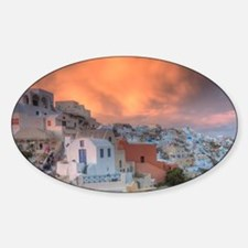 Sunset with colorful light and clou Sticker (Oval)