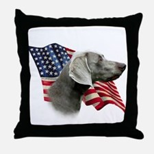 Weimaraner Flag Throw Pillow