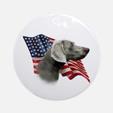 Weimaraner Flag Ornament (Round)