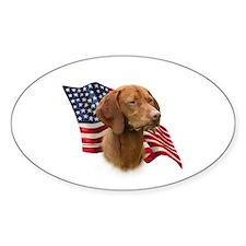 Vizsla Flag Oval Decal