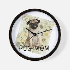 pug mom on background Wall Clock