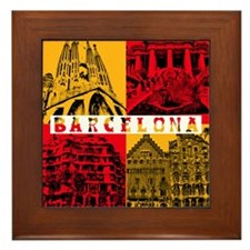 Barcelona_10x10_apparel_AntoniGaudí_R Framed Tile