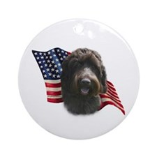 Wirehaired Griffon Flag Ornament (Round)