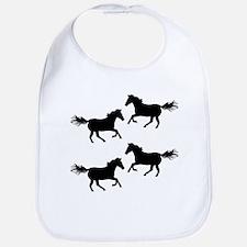 Black Wild Horses Bib
