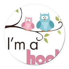 hootgirl Round Car Magnet