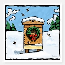 """Christmas Bees Square Car Magnet 3"""" x 3"""""""