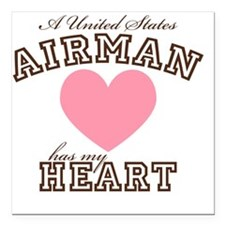 "ausairmanhasmyheart Square Car Magnet 3"" x 3"""