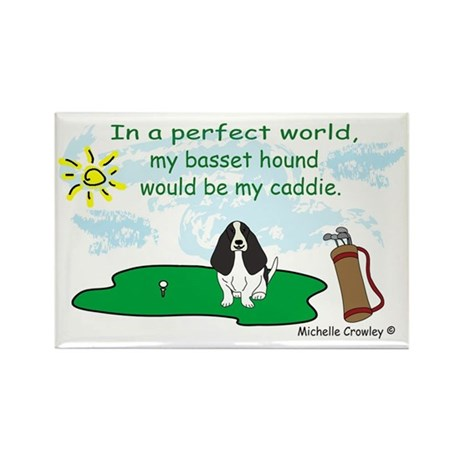 BassetHoundBlk Rectangle Magnet