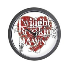 twilight breaking dawn white grunge tex Wall Clock