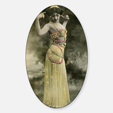 Lunagirl vintage bellydancer yellow Sticker (Oval)