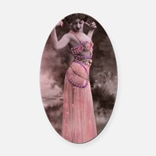 Lunagirl vintage bellydancing pink Oval Car Magnet