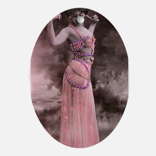 Lunagirl vintage bellydancing pink/p Oval Ornament